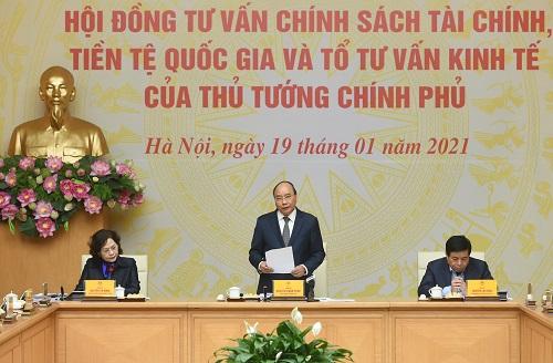 Thủ tướng Nguyễn Xuân Phúc làm việc với Hội đồng Tư vấn chính sách tài chính, tiền tệ quốc gia và Tổ tư vấn kinh tế