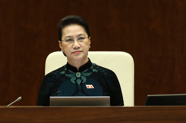 Chủ tịch Quốc hội khóa XIV Nguyễn Thị Kim Ngân tại phiên họp sáng ngày 30/3. Ảnh: TTXVN