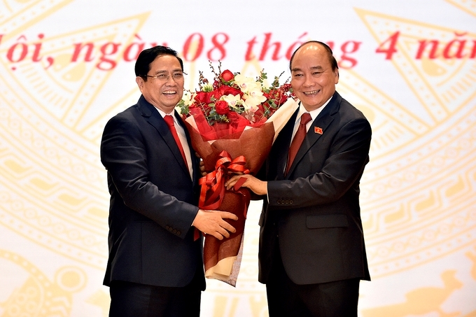 Chủ tịch nước Nguyễn Xuân Phúc và Thủ tướng Chính phủ Phạm Minh Chính.